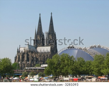 cathedral of Cologne, Germany (Koelner Dom), seen from the riverbanks of the Rhine