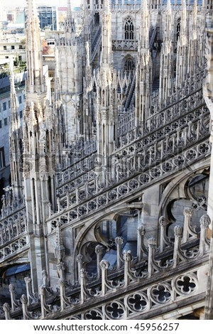 Cathedral Of Duomo Gothic Architecture Details Milan
