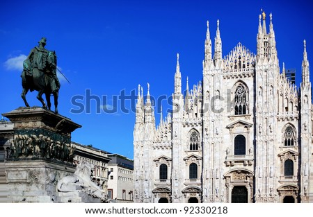 Cathedral of Duomo in Milano, gothic architecture background