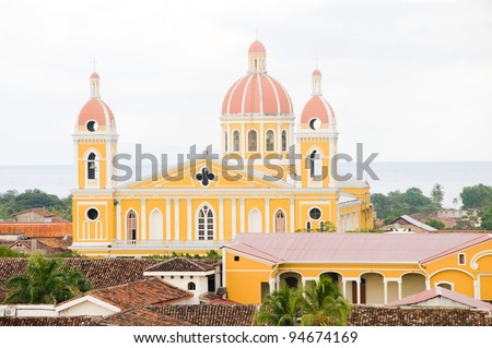 Cathedral of Granada Nicaragua Central America Spanish tile rooftops panorama