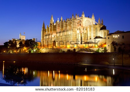 Cathedral of la Seu Majorca in Palma de Mallorca reflection over lake at Balearic islands - stock photo