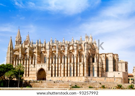 Cathedral of Majorca  La seu from Palma de Mallorca in Balearic Island Spain - stock photo