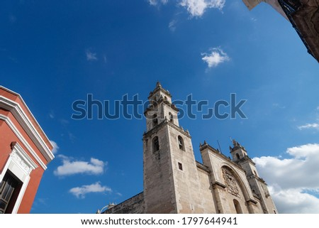 Cathedral of Merida 'San Ildefonso' with bright blue sky, Merida in worm eye's view, Yucatan, Mexico