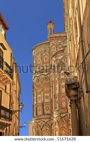 Cathedral of Monreale apse exterior, view from the alley. Sicily, Italy