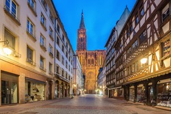 Cathedral of Our Lady (Notre Dame) of Strasbourg at night in Strasbourg, Alsace, France.