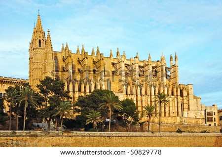 cathedral of Palma de Mallorca, in Spain - stock photo