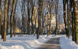 Cathedral of Peter and Paul in Gomel. Belarus. View of the cathedral through the trees. Sunset. Gomel palace and park ensemble in winter. Winter alley to the cathedral. Winter view