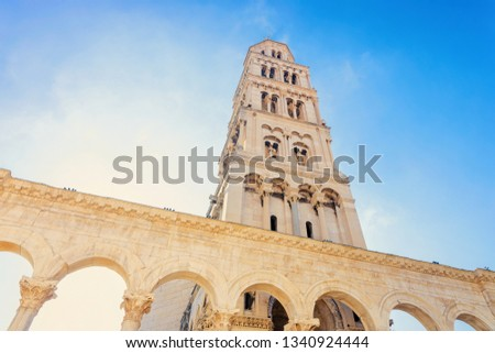 Cathedral of Saint Domnius and Diocletian Palace and Roman Town architecture in Old city of Split on Adriatic Coast in Dalmatia in Croatia. Cityscape at Croatian Dalmatian Bay. Europe in summer.