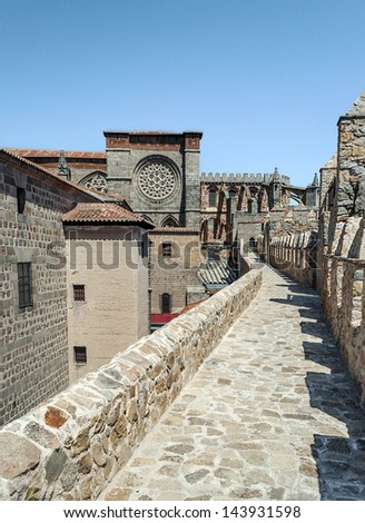 Cathedral of San Salvador of Avila it�´s situated in Spain, it�´s of gothic style, you can see part of a castle surroundedby meieval houses of the city.