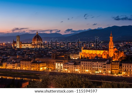 Cathedral of Santa Maria del Fiore (Duomo) and basilica of Santa Maria Novella at night, Florence, Italy