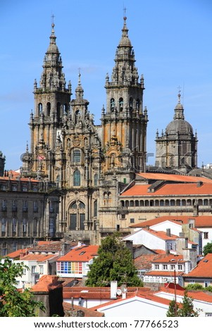 """Cathedral of Santiago de Compostela over the roofs, the final destination for """"el camino"""" - stock photo"""