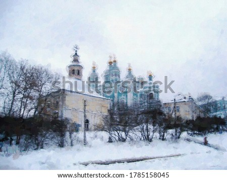 Cathedral of the assumption of the blessed virgin (Baroque architecture) of the XVII and XVIII centuries in Smolensk and Annunciation of the most Holy Theotokos Church in a the style of oil painting