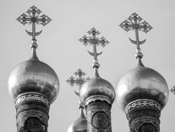 Cathedral of the Dormition Russian Orthodox church dedicated to the Dormition of the Theotokos in Moscow Russia in black and white