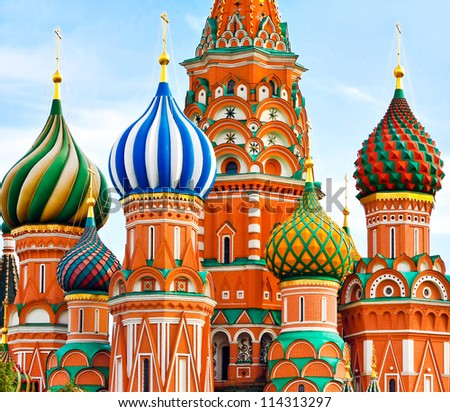 Cathedral of Vasily the Blessed on Red Square in Moscow, Russia