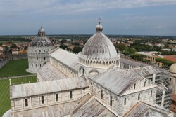 Cathedral Pisa and baptistery, view from top - Tower of Pisa, Italy.