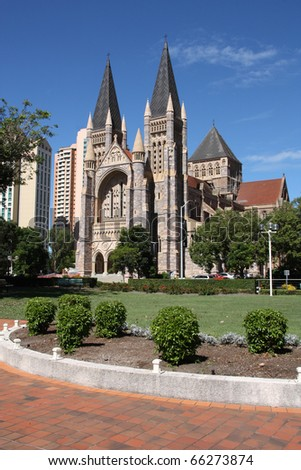 Cathedral Square with St. John's Cathedral (Anglican) in Brisbane, Queensland, Australia.