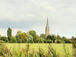 Cathedral stands tall over tress and green fields