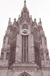 Cathedral Tower and Clock, Frankfurt; Germany in Black and White Sepia Tone