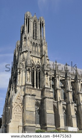 cathedral tower and side, reims
