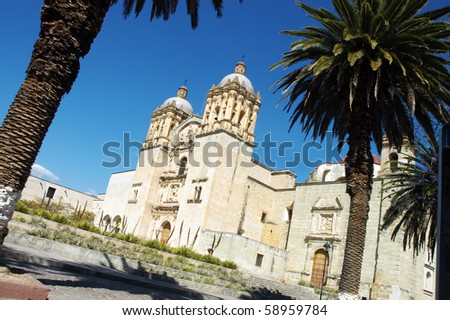 Cathedral with palms in Oaxaca city in Mexico