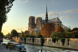 Cathedrale Notre-Dame in Paris, France at sunset