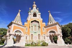 Cathedrale Orthodoxe Russe Saint Nicolas de Nice, the Russian Orthodox Cathedral in Nice, France.