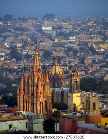Cathedrals at the center of San Miguel Arcangel, San Miguel de Allende, Mexico.  Seen here: La Parroquia (Church of St. Michael the Archangel) and the Temple of the Nuns