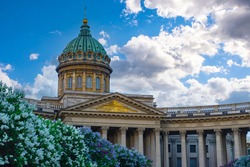 Cathedrals of Saint Petersburg. Museums of Russia. Kazan Cathedral in Saint Petersburg. Architecture of Russian cities. Architectural landmarks of Saint Petersburg. Kazan Cathedral on a sunny day