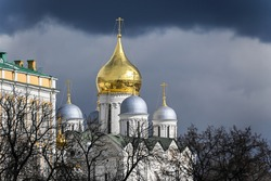 Cathedrals of the Kremlin. Golden domes of white-stone temples.