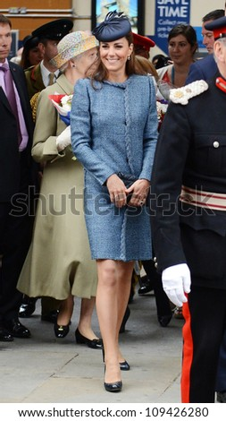 Catherine Duchess of Cambridge  arrives in Nottingham during the Royal Jubilee Tour. Nottingham, UK. June 13, 2012, Nottingham, UK Picture: Catchlight Media / Featureflash