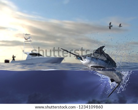 Cathing marlin swordfish, fisherman in sport fishing boat holding big game fishing rod and reel 3d render