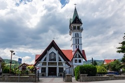 Catholic church dedicated to Saint Maximilian Maria Kolbe in Cisiec, Silesian Voivodeship, Poland. Church was built in communism during one day and it's called