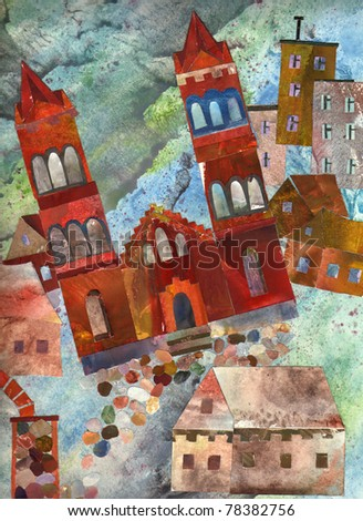 Catholic church in the city. A collage of paper. Arrangement