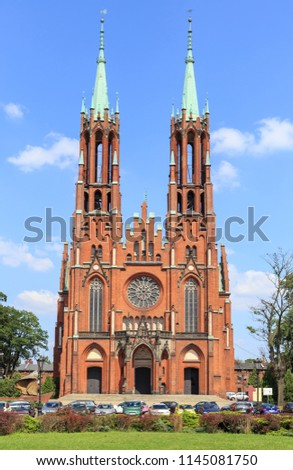 Catholic Church in Zyrardow, Mazowieckie voivodship, Poland. It was built between 1900-1903 in neo-Gothic style designed by Joseph Pius Dziekoński on the main square of Zyrardow Zdjęcia stock ©