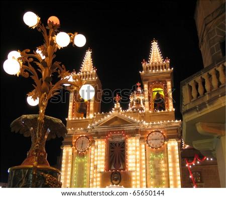 Catholic Church  on Malta in the night  illuminated for the village feast