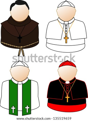 Catholic priest, bishop and pope icons. Raster version