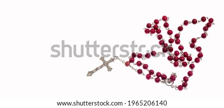 Catholic rosary and crucifix on white background ストックフォト ©