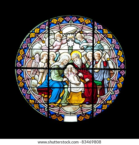 Catholic stained glass (The Nativity of Our Lady Cathedral), Samutsongkhram Province, Thailand