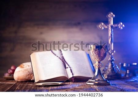 Catholic symbols composition. Place for typography. Photo stock ©