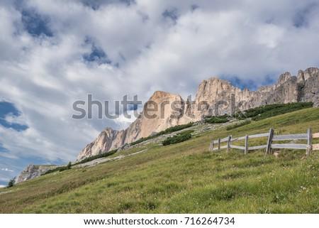 Catinaccio mountain massif summits (from L to R), Cresta del Masare, Roda del Diavolo, Roda di Vael and La Sforcela as seen from Paolina refuge, Dolomites, Trentino, South Tyrol, Italy   Stock fotó ©