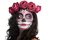catrina skull makeup for halloween isolated on white background