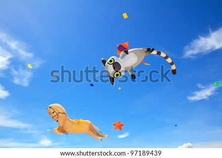 Cats and horses. kite  on  blue sky