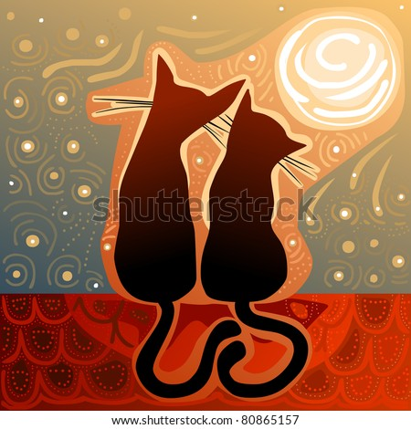 cats in love on a roof in the moonlight - for vector version see image no. 80673778