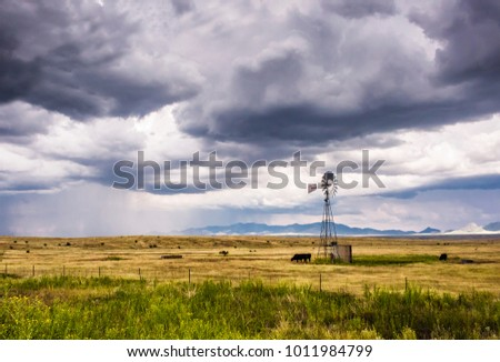 Cattle are grazing near a windmill on Sonoita, Arizona, ranchland. A rain shower is on the horizon.