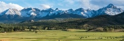Cattle ranch below the Dallas divide mountains in Southwest Colorado