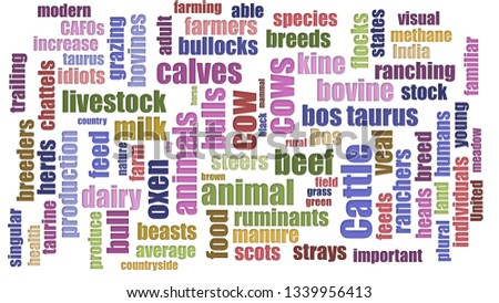 Cattle Tagcloud Randomised Isolated On White