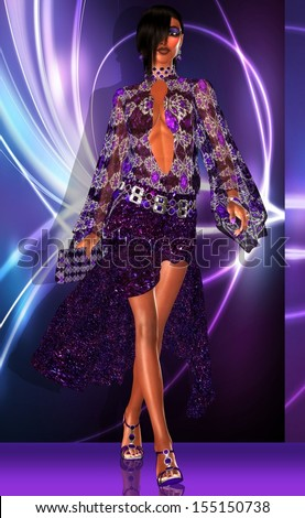 Catwalk. A purple, blue and white abstract background is the entrance for this fashion girl to walk the runway in the latest design.