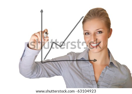 Caucasian blond business woman writing on white isolated background