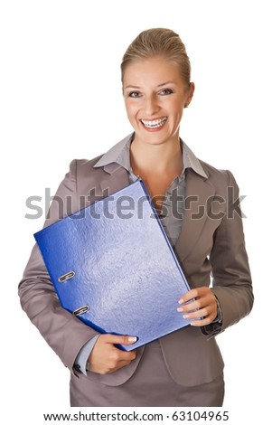 Caucasian blond businesswoman in suit holding ring binder on white isolated background