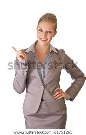 Caucasian blond businesswoman in suit on white isolated background